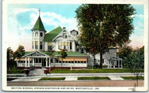 1930s Martinsville, Ind. Postcard Whiting Mineral Springs Sanitarium & Baths