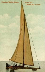 Canada - Ontario, Toronto Bay. Iceboating (Winter Sailing)