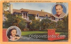 Home of the Benny's Jack Benny & Mary Livingston Beverly Hills, CA, USA Unused