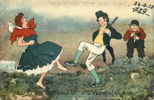 Hooch ! Scottish type dancers caricature flute cake-walk dance comic postcard