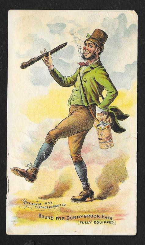 VICTORIAN TRADE CARD Pond's Extract Irishman w/Shillelagh