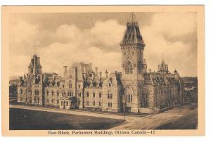 Ottawa Canada Parliament Buildings East Block PECO Vintage Postcard