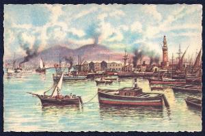 The Port of Naples by Carelli unused c1940's