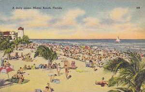 A Daily Scene, Bathing Beach, Lighthouse, Miami Beach, Florida, 1930-1940s