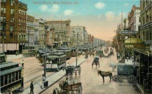 C-1910 Canal Street Trolleys New Orleans Louisiana Postcard 10567