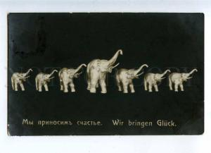 232367 Happy ELEPHANT Figures 1913 russian Tsenter photo RPPC