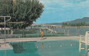 View of Overlander Bridge over South Thompson River, Swimming Pool, Kamloops,...
