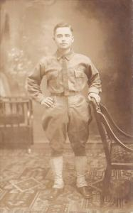 Soldier Posing In Uniform Real Photo