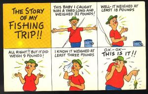 Fish Comic The Story of my Fishing Trip Humor Postcard 1958