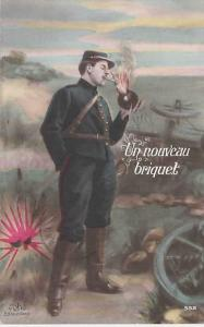 WWI French Patriotic A New Lighter Color Tinted Postcard Used