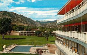 Boulder Colorado~Chairs on Deck, Swim Pool~Country Club Hotel~Rocky Mt View~1960