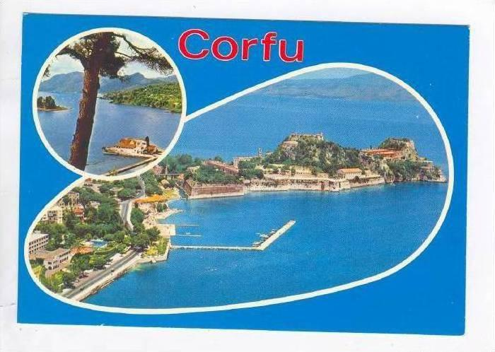 CORFU, 2-View, The Old Castle, Bird's Eye, Mountain Background, Greece, 40-60s