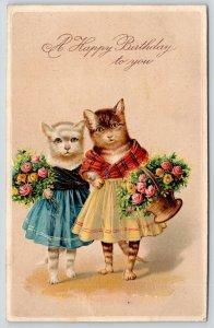 PFB Fantasy Dressed Cats~Girl Kittens in Dresses & Shawls~Roses~Embossed~#5957