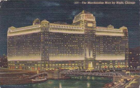 Illinois Chicago The Merchanddise Mart By Night 1954