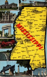 Map Of Mississippi With Multi Views 1949