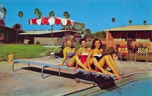 McAllen TX Fairway Motor Hotel Elegance On The Border Bathing Women Postcard