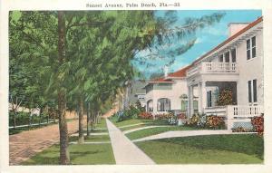 Palm Beach Florida~Nice Homes on Sunset Avenue~1920s Postcard