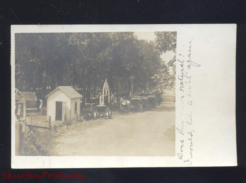 RPPC WALTON KANSAS PARK HORSE DRAWN BUGGY STERLING KS. REAL PHOTO POSTCARD