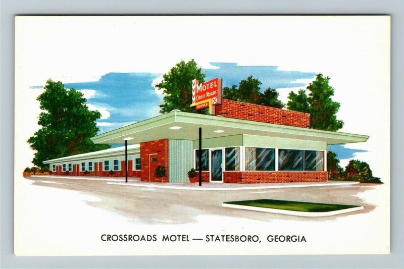 Statesboro GA- Georgia, Crossroads Motel, Vintage Chrome Postcard