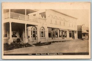 Monmouth Iowa~Main Street~Bank~Theatre? Posters~Millinery?~Storefronts~1914 RPPC
