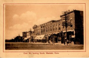 Mankato, Kansas - The downtown on Commercial Street, looking South - in1908