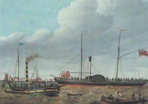 William Griffin Lion Off Goole Yorkshire Boat River Victorian Painting Postcard
