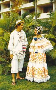 Panama Couple Wearing Pollera and Montuno National Costume Of Panama