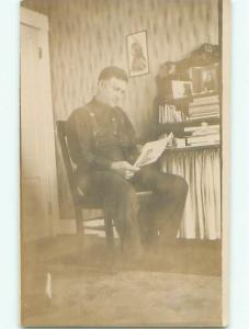 circa 1910 rppc NATIVE INDIAN PICTURE ON WALL OF WHITE MAN'S HOME o2739