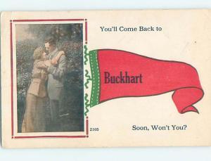 Divided-Back PENNANT POSTCARD Buckhart Missouri MO HM5230