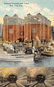 Manhattan NY~Steamships~Steamboats~Hudson Railroad Trains in Subway 1922 RPO PC