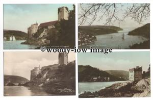 tb1616 - Devon - Dartmouth & Kingswear Castle, & St Petrox Church - 4 postcards