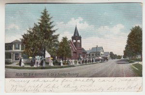P2085, 1906 postcard church goers sunday morning white mts bethehem NH