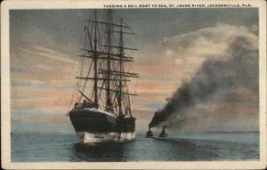 Jacksonville FL Tugging a Sail Boat St. Johns River c1920 Postcard