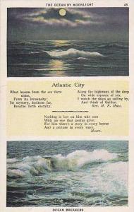 2-Views, The Ocean By Moonlight, Ocean Breakers, Atlantic City, New Jersey, 1...