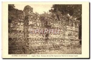 Old Postcard Ruins D Angkor Thom called Terrace of the Leper King north of th...