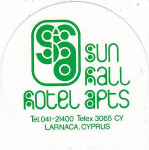 CYPRUS LARNACA SUN HALL HOTEL APARTMENTS VINTAGE LUGGAGE LABEL