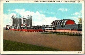 1933 CHICAGO WORLD'S FAIR Expo Postcard Travel Transportation Building Unused