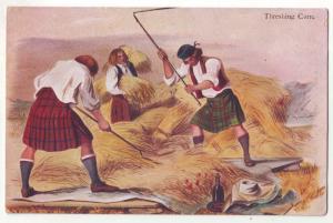 P934 scottish mcian,s highland series art men threshing corn view