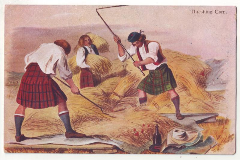 P934 scottish mcian,s highland series art men threshing corn view