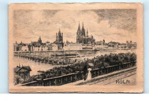 *Koln Cologne Germany Artist Sketch Drawing Vintage Postcard C60