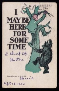 1905 US Sc #331 Humor Post Card Boston Mass to West Medway MassSe...