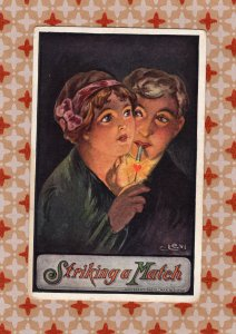 Striking A Match Vintage Postcard, Young Couple Smoking, Romance, Man & Woman