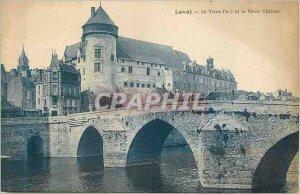 Old Postcard Laval Old Bridge and Old Castle