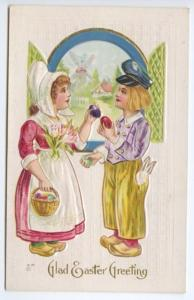 Glad Easter Greetings Boy Girl Swapping Eggs Embossed Postcard