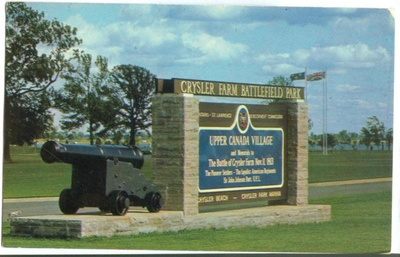 Canada, Upper Canada Village, Entrance Sign at Crysler Farm Battlefield Park