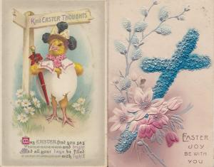 Easter Blue Crucifix Kind Thoughts WW1 Signpost Fat Bird Old Postcard