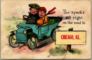 1913 CHICAGO Illinois Greetings Postcard The Spark's All Right Automobile