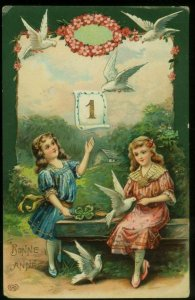 011421 LOVELY VINTAGE EAS NEW YEAR POSTCARD TWO GIRLS WITH DOVES GEL GILDED