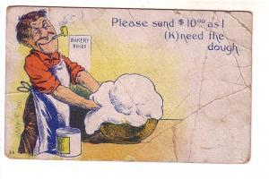 Baker Smoking Pipe, (K)needing Dough, Please Sned Ten Dollars, Vintage Cartoon