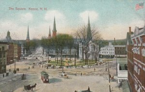 KEENE, New Hampshire, 1900-10s; Bird's Eye View of The Square